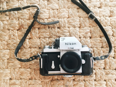 Nikon F camera. Photographed by Kristen M. Brown, Samba to the Sea Photography.