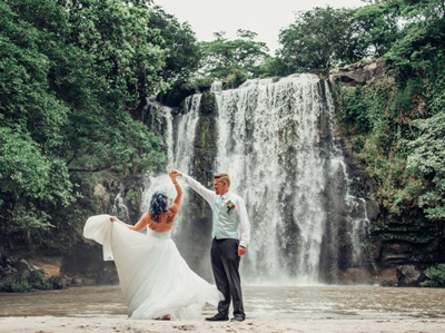 Wedding at waterfall in Costa Rica.