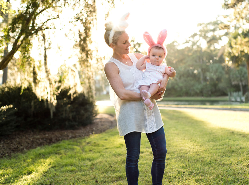 Mother and young daughter wearing Easter Bunny ears during their family photo session at The Landings on Skidaway Island in Savannha, Ga. Photographed by Savannah Family Photographer Kristen M. Brown, Samba to the Sea Photography.