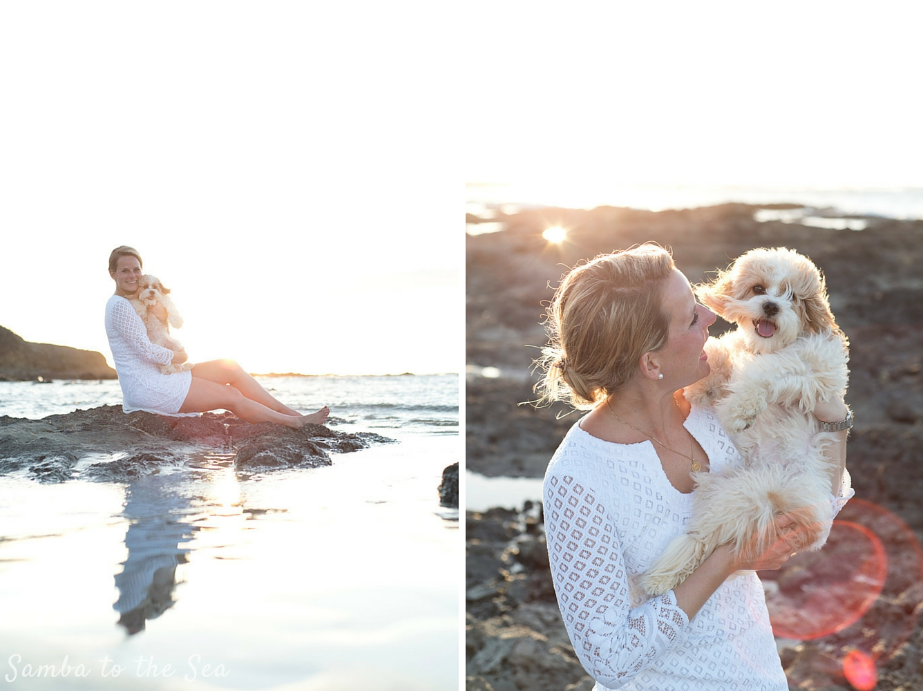 Waffles the Cavapoo and Theresa, wearing the Lilly Pulitzer Mara Scallop Hem Lace Dress, in Tamarindo, Costa Rica. Photographed by Kristen M. Brown, Samba to the Sea Photography.