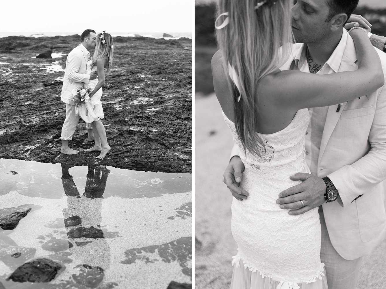 Black and white photos of bride and groom on the beach after wedding in Playa Langosta, Costa Rica. Photographed by Kristen M. Brown, Samba to the Sea Photography.