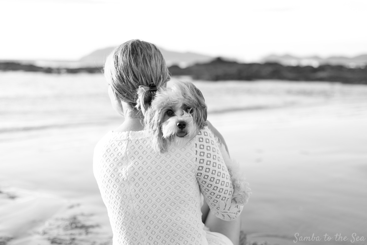 Waffles the Cavapoo resting her head on Theresa in Playa Tamarindo, Costa Rica. Theresa is wearing the Lilly Pulitzer Mara Scallop Hem Lace Dress. Photographed by Kristen M. Brown, Samba to the Sea Photography.