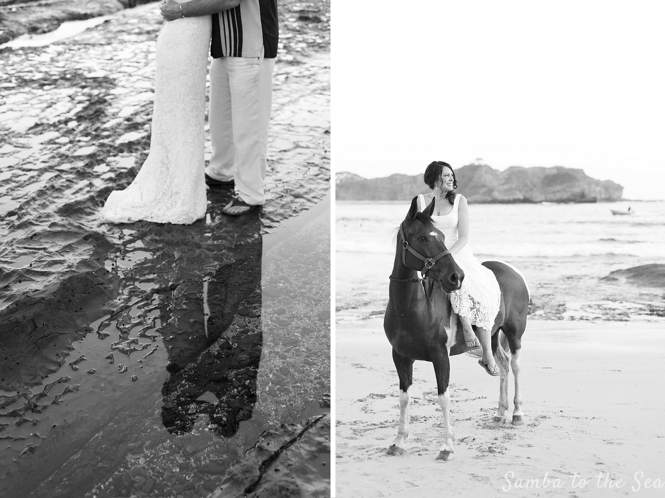 Bride on horse on the beach in Nosara, Costa Rica. Photographed by Kristen M. Brown, Samba to the Sea Photography.
