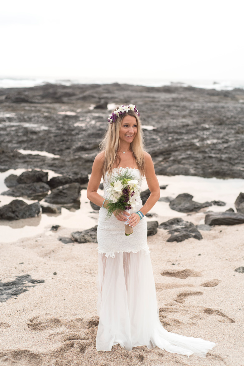 Bridal portrait on the beach in Playa Langosta, Costa Rica. Photographed by Kristen M. Brown, Samba to the Sea Photography.