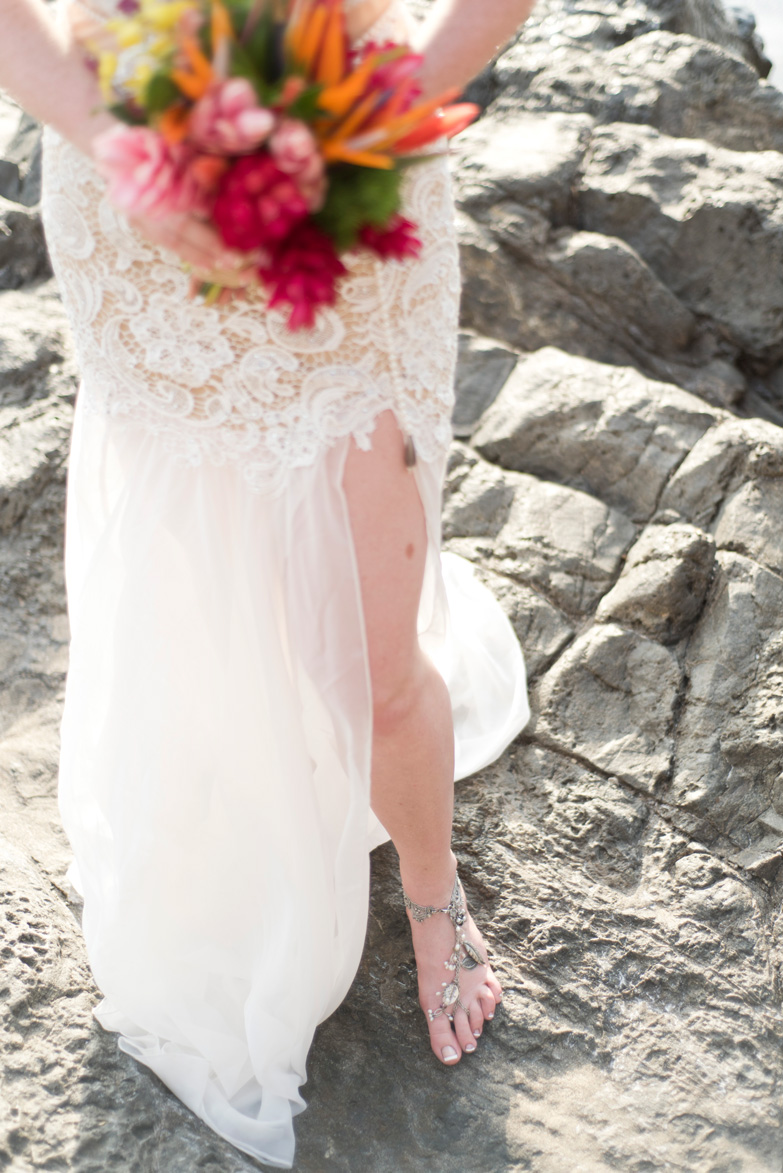 Boho Chic Wedding dress at Playa Hermosa, Costa Rica. Photographed by Kristen M. Brown, Samba to the Sea Photography.