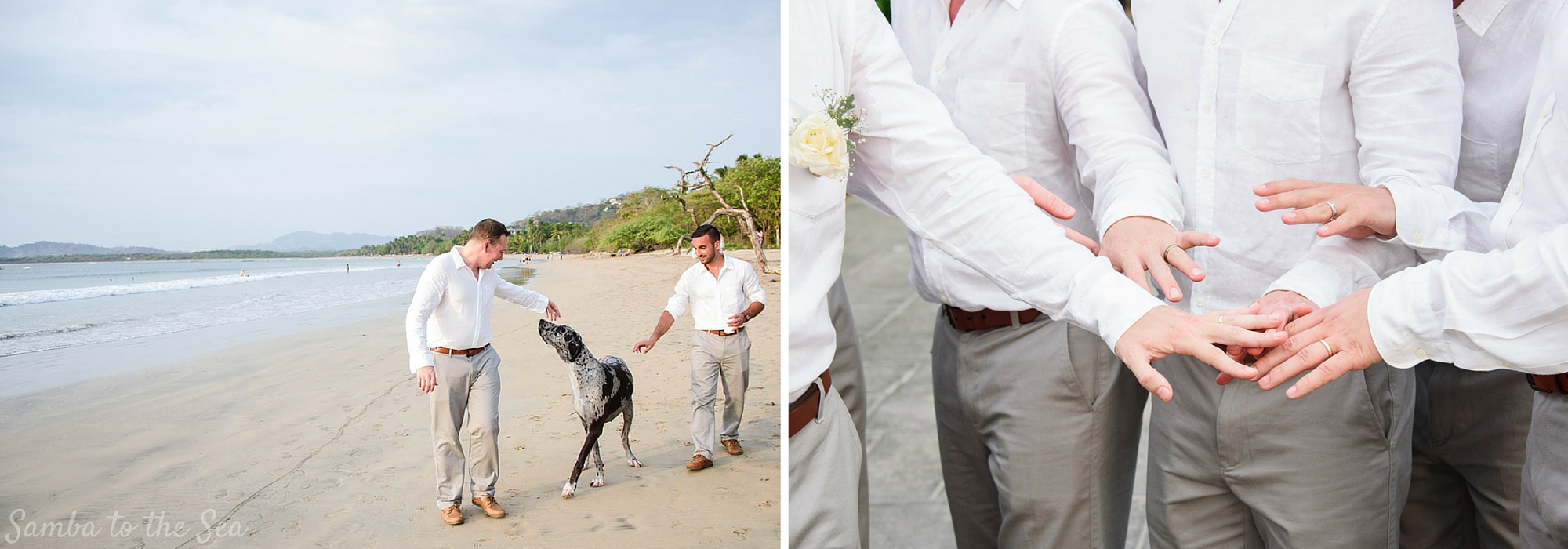 Groomsmen on the beach during destination wedding in Tamarindo, Costa Rica. Photographed by Kristen M. Brown, Samba to the Sea Photography.