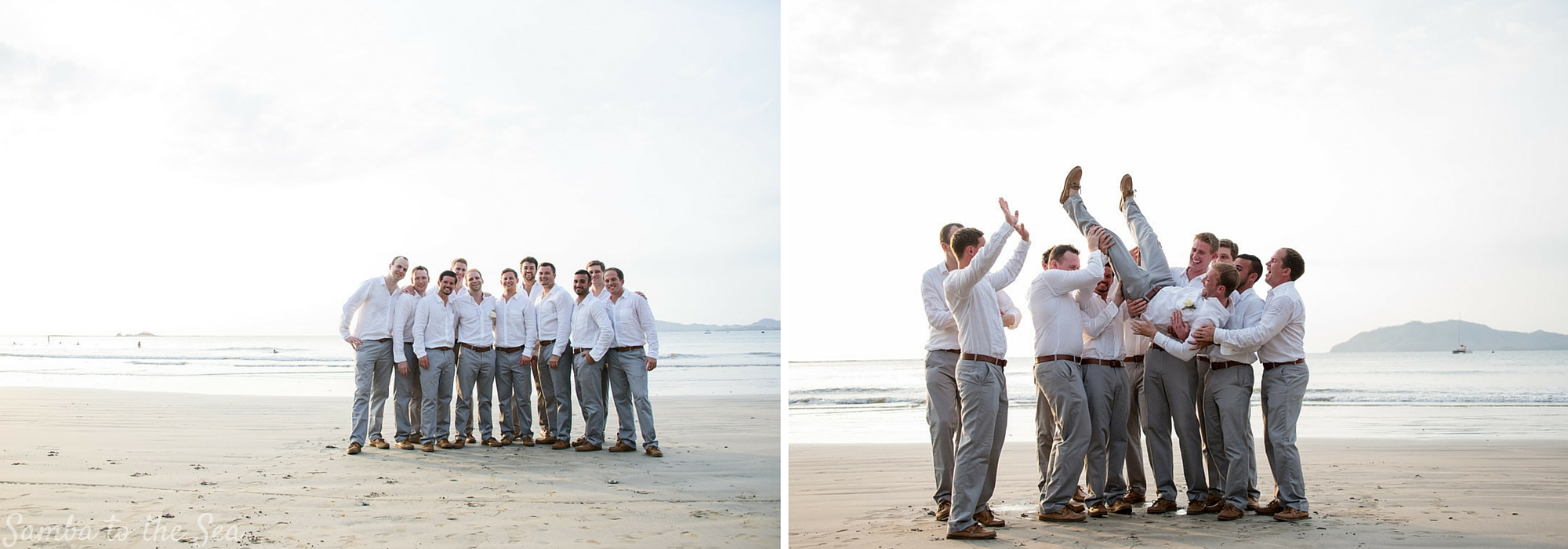 Groomsmen at destination wedding in Tamarindo, Costa Rica. Photographed by Kristen M. Brown, Samba to the Sea Photography.