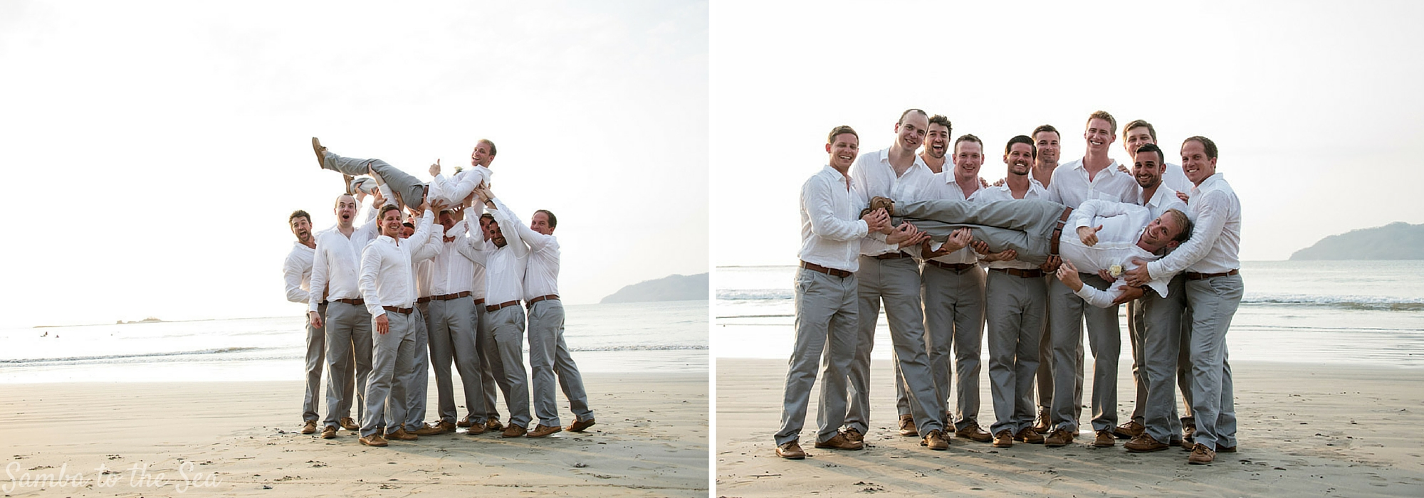 Groomsmen and groom fooling around on the beach during destination wedding in Tamarindo, Costa Rica. Photographed by Kristen M. Brown, Samba to the Sea Photography.