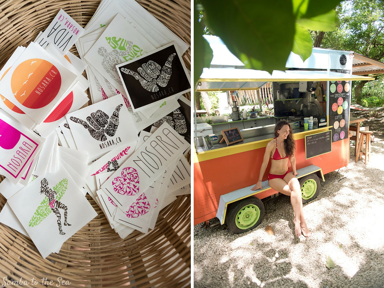 Kim at Go Juice Nosara wearing a MI OLA surf bikini. Photographed by Kristen M. Brown, Samba to the Sea Photography.