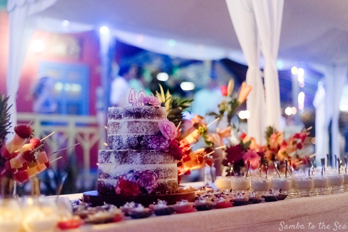 Birthday cake at Father Rooster in Costa Rica. Photographed by Kristen M. Brown, Samba to the Sea Photography.