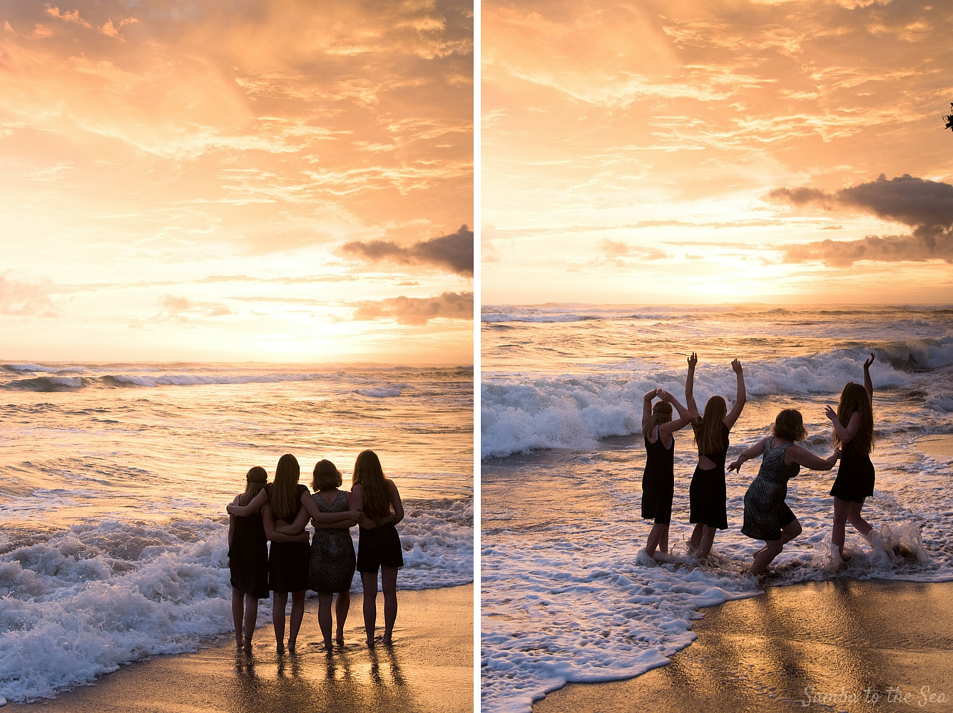 Family enjoying a sunset in Costa Rica. Photographed by Kristen M. Brown, Samba to the Sea Photography.