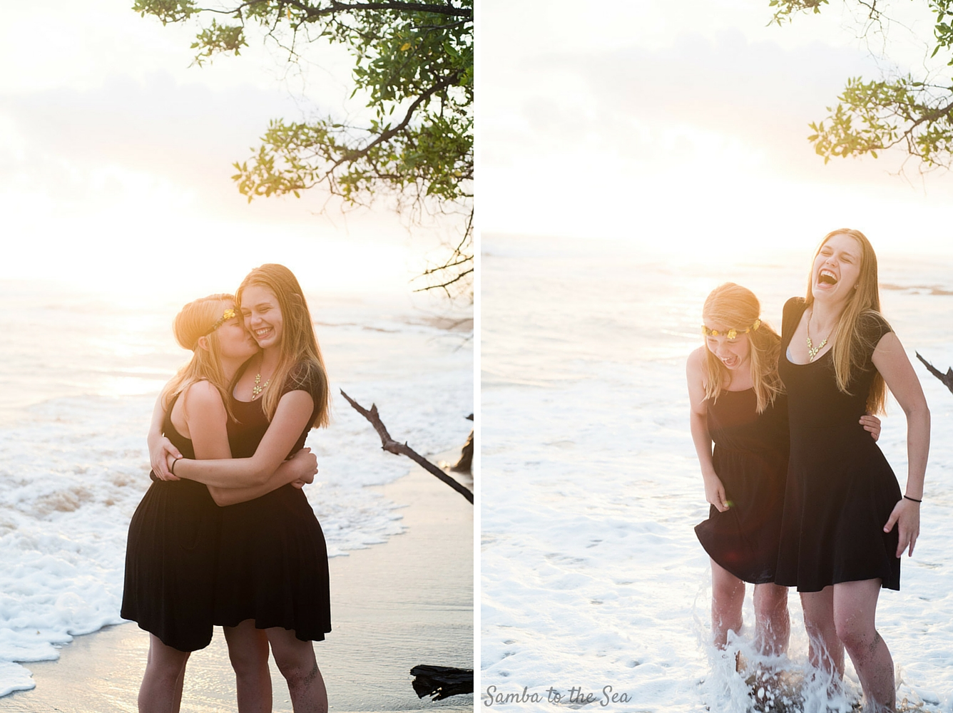 Sisters on the beach in Costa Rica. Photographed by Kristen M. Brown, Samba to the Sea Photography.