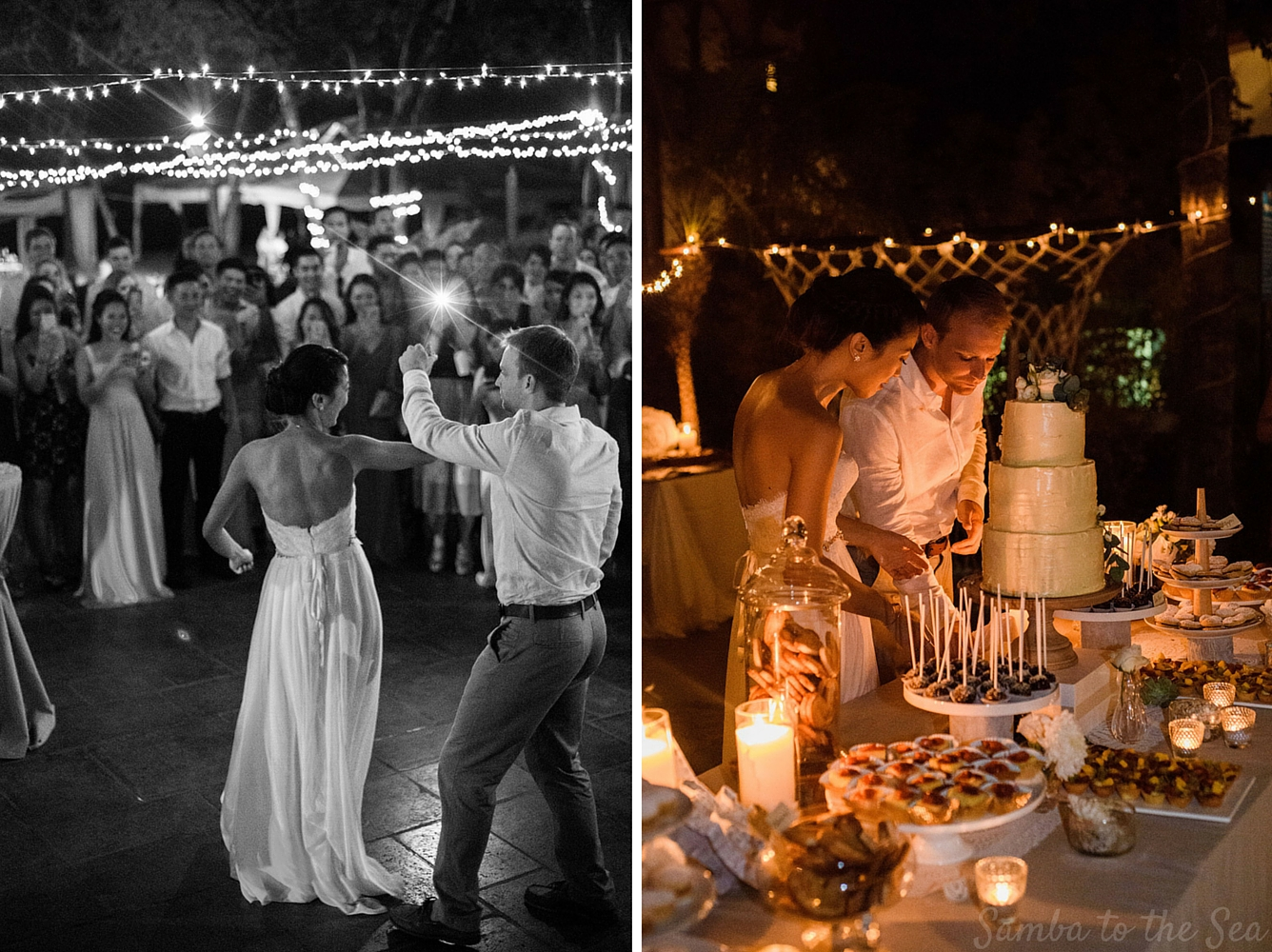 Bride and groom dancing and cutting their cake during their Langosta Beach Club wedding. Photographed by Kristen M. Brown, Samba to the Sea Photography.