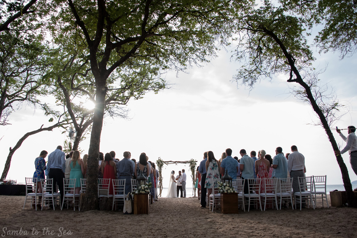 Wedding ceremony at Langosta Beach Club in Tamarindo, Costa Rica.. Photographed by Kristen M. Brown, Samba to the Sea Photography.