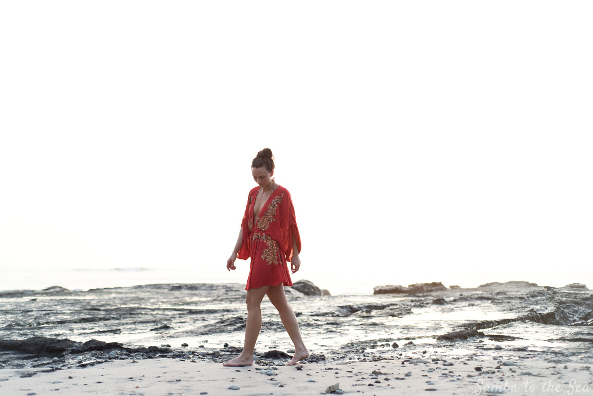 Kim modeling her Free People red tunic during sunset in Nosara, Costa Rica. Photographed by Kristen M. Brown, Samba to the Sea Photography.