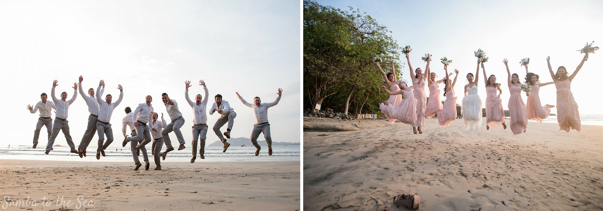 Wedding party jumping on the beach after wedding in Tamarindo, Costa Rica. Photographed by Kristen M. Brown, Samba to the Sea Photography.