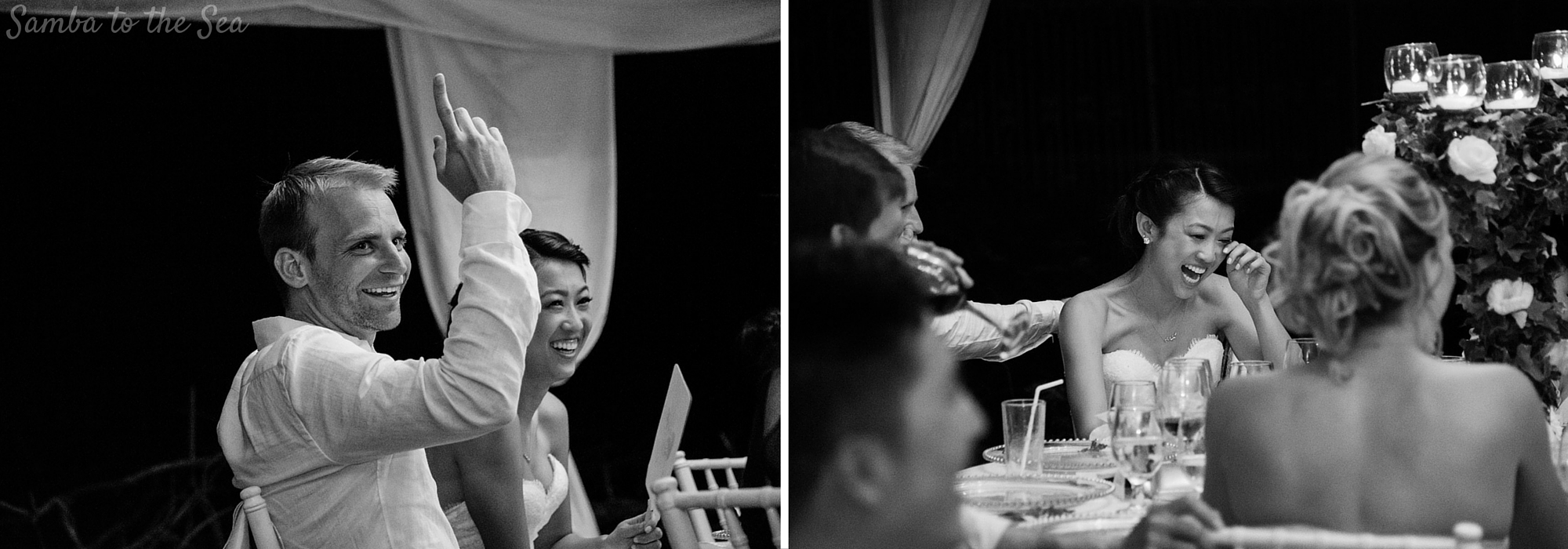 Bride and groom smiling during speeches at wedding in Tamarindo, Costa Rica. Photographed by Kristen M. Brown, Samba to the Sea Photography.
