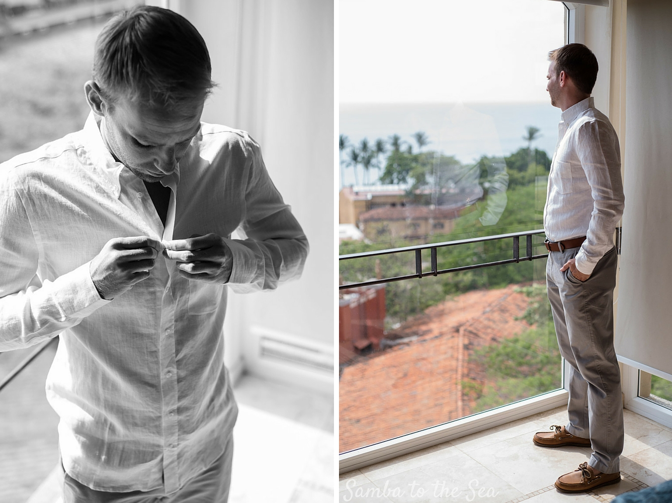 Groom getting ready at the Diria before his wedding in Tamarindo, Costa Rica. Photographed by Kristen M. Brown, Samba to the Sea Photography.