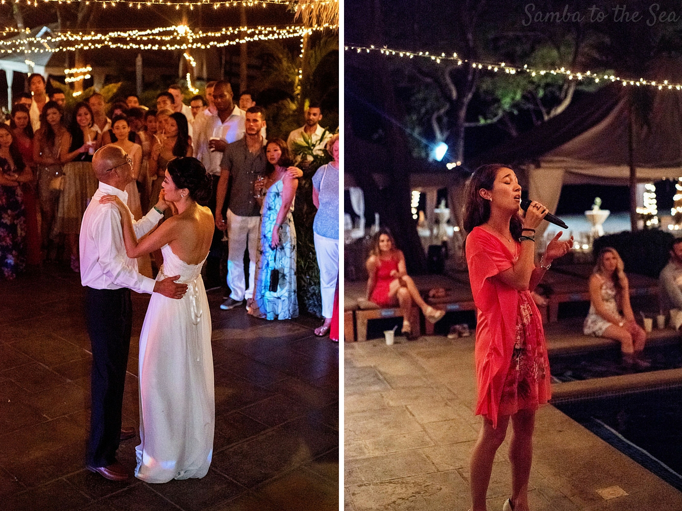 Bride dancing with her father at Tamarindo Wedding Venue, Langosta Beach Club. Photographed by Kristen M. Brown, Samba to the Sea Photography.