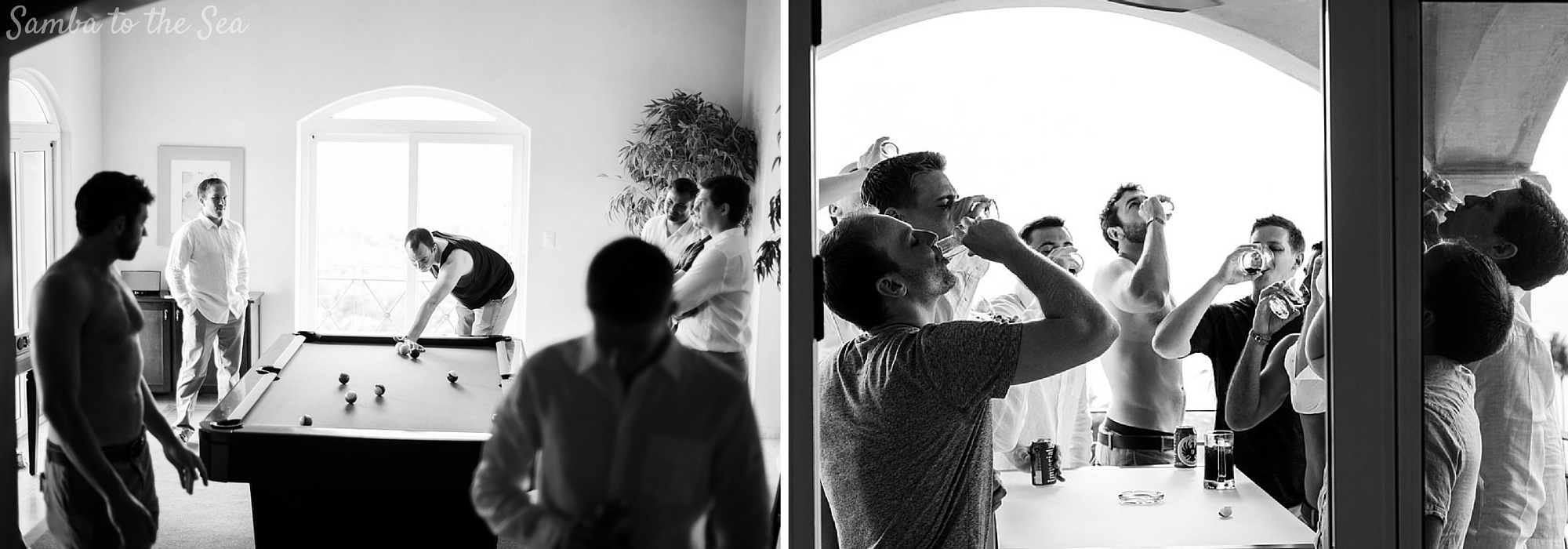 Groom and groomsmen getting ready at the Diria before wedding in Tamarindo, Costa Rica. Photographed by Kristen M. Brown, Samba to the Sea Photography.