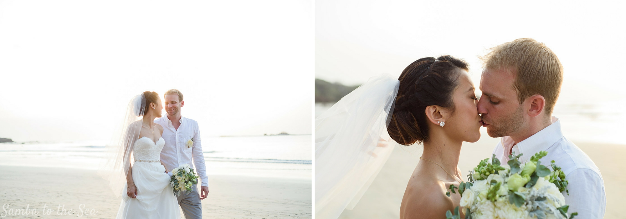 Amy and AJ on the beach after their wedding in Tamarindo. Photographed by Kristen M. Brown, Samba to the Sea Photography.