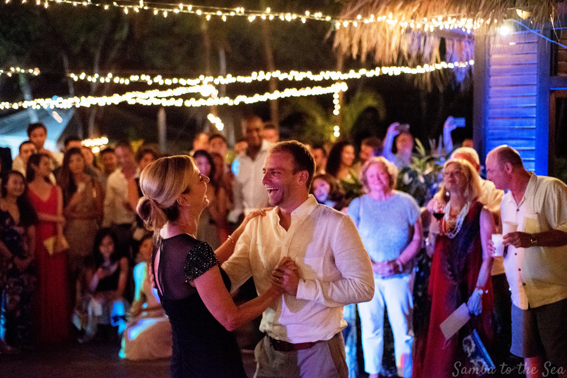 Groom dancing with his mom at his wedding in Tamarindo, Costa Rica. Photographed by Kristen M. Brown, Samba to the Sea Photography.