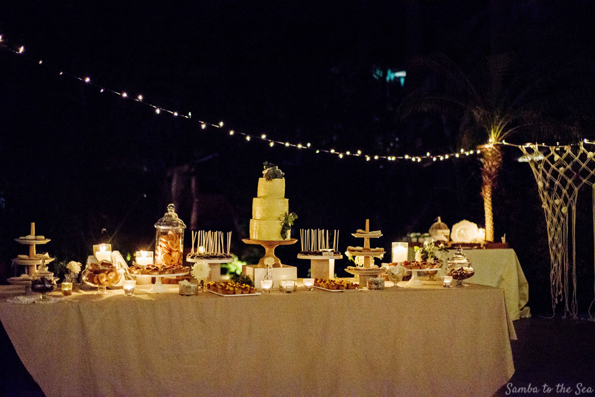 Wedding cake and desert table in Tamarindo, Costa Rica by Victoria Zoch. Photographed by Kristen M. Brown, Samba to the Sea Photography.