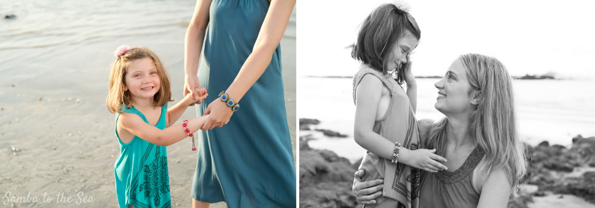 Young daughter and her mom sharing beautiful moments during family photos in Costa Rica. Photographed by Kristen M. Brown, Samba to the Sea Photography.