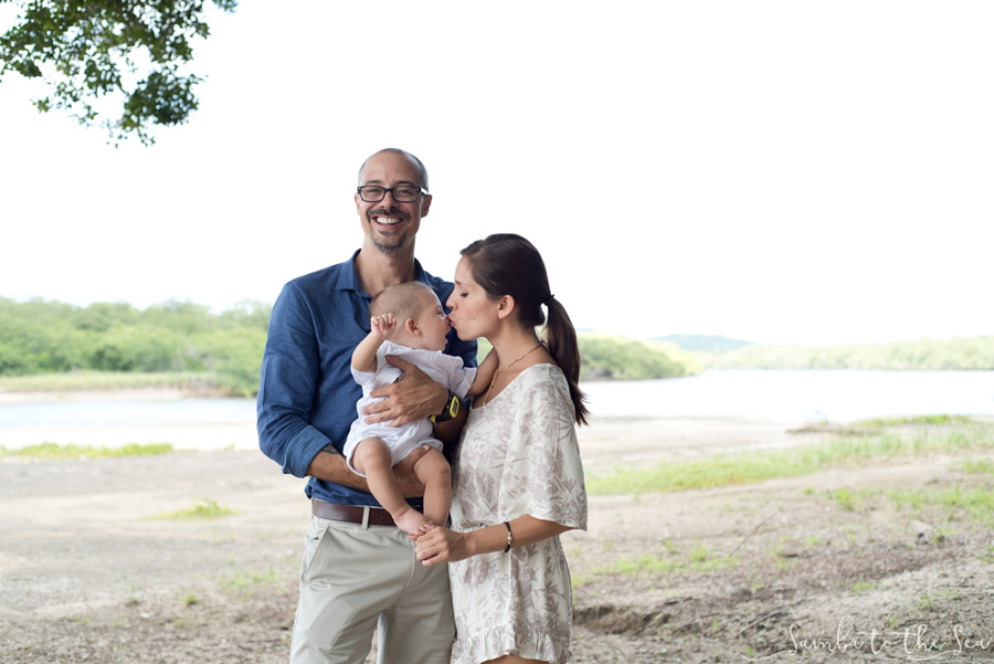 Family photo at Pangas Beach Club in Tamarindo, Costa Rica. Photographed by Kristen M. Brown, Samba to the Sea Photography.