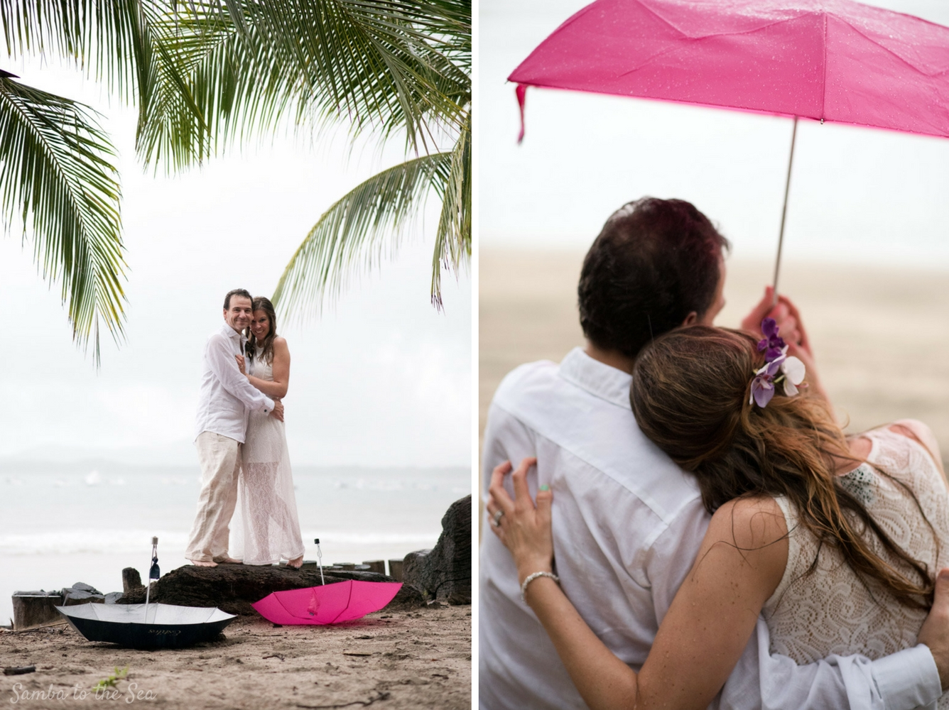 Couple holding an umbrella during a rain storm after their elopement in Costa Rica. Photographed by Kristen M. Brown, Samba to the Sea Photography.
