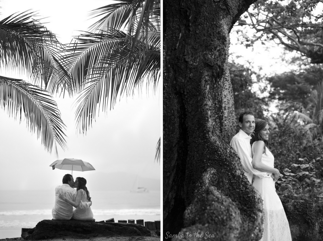Couple kissing under an umbrella after their elopement in Tamarindo, Costa RIca. Photographed by Kristen M. Brown, Samba to the Sea Photography.