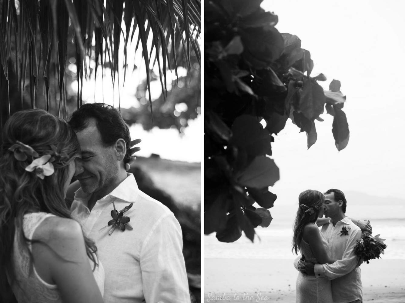 Black and white photos of an elopement in Costa Rica. Photographed by Kristen M. Brown, Samba to the Sea Photography.