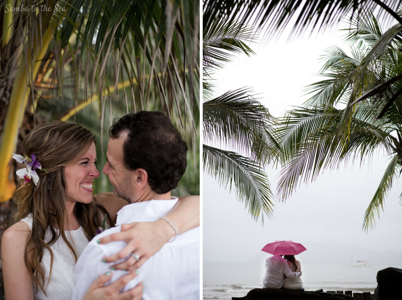 Couple smiling despite the rain on their elopement in Costa Rica. Photographed by Kristen M. Brown, Samba to the Sea Photography.