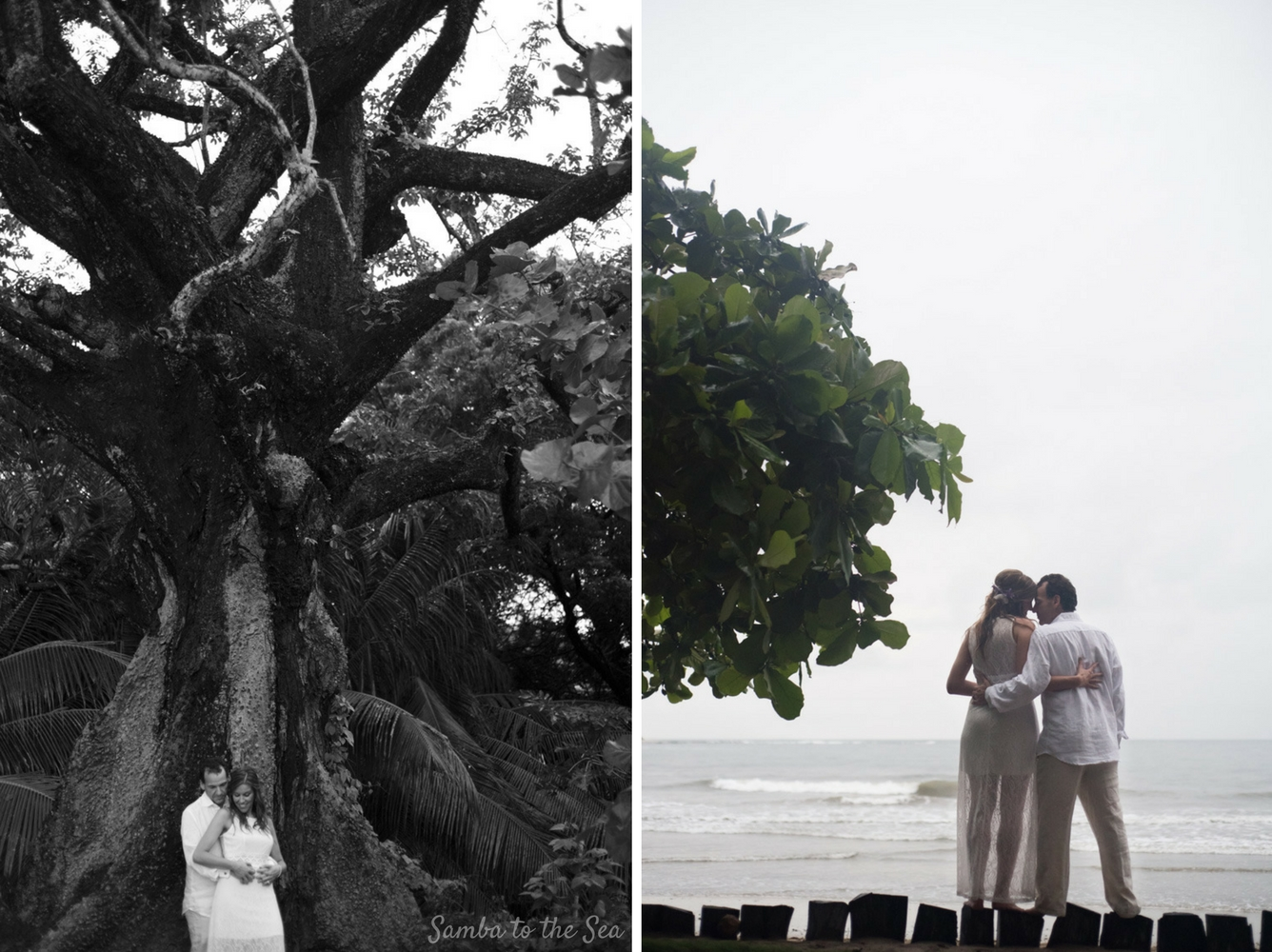Couple embracing during their Costa Rican elopement. Photographed by Kristen M. Brown, Samba to the Sea Photography.