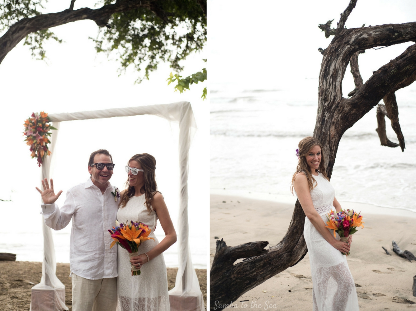 Devan and Jim eloping on the beach in Tamarindo, Costa Rica. Photographed by Kristen M. Brown, Samba to the Sea Photography.