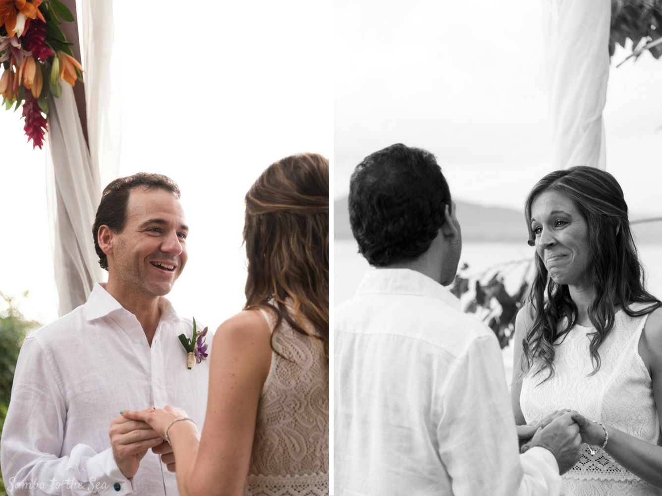Couple exchanging vows during their elopement at Langosta Beach Club in Tamarindo, Costa Rica. Photographed by Kristen M. Brown, Samba to the Sea Photography.