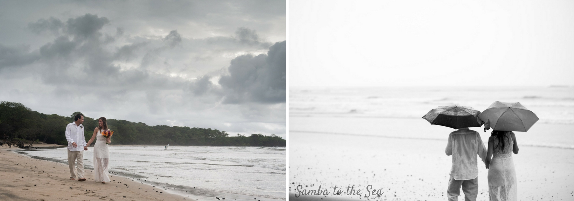 Couple walking on the beach in the rain after their elopement in Costa Rica. Photographed by Kristen M. Brown, Samba to the Sea Photography.
