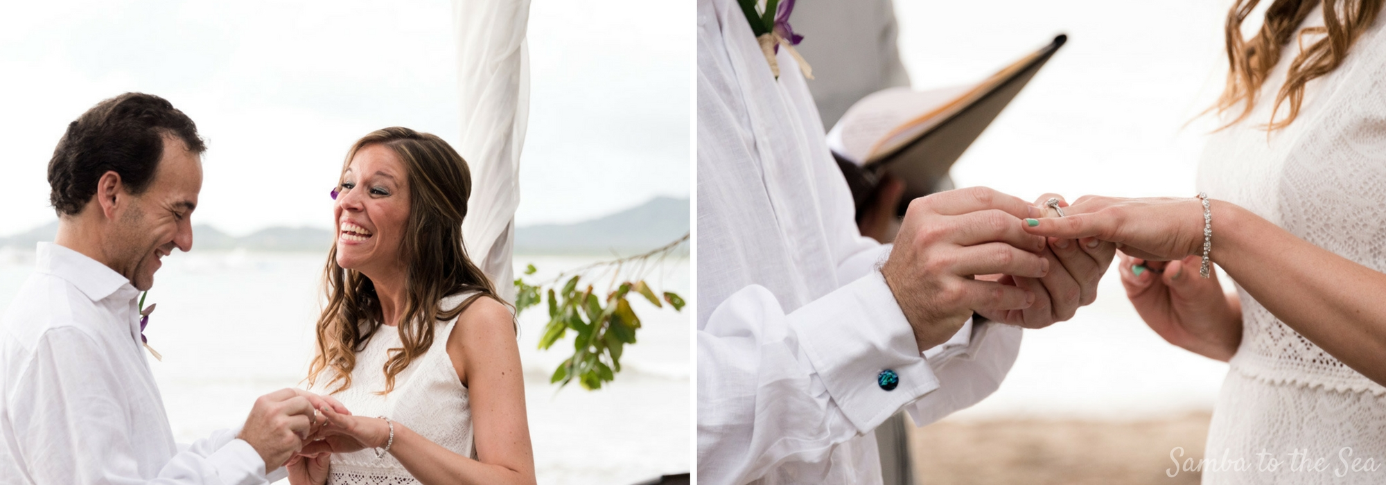 Groom placing ring on his bride during their elopement in Tamarindo, Costa Rica. Photographed by Kristen M. Brown, Samba to the Sea Photography.