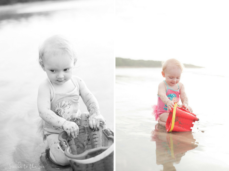 Baby girl playing in the sand for the first time. Photographed by Kristen M. Brown, Samba to the Sea Photography.