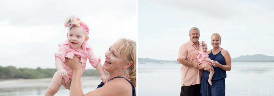 Grandparents with their baby granddaughter in Tamarindo, Costa Rica. Photographed by Kristen M. Brown, Samba to the Sea Photography.