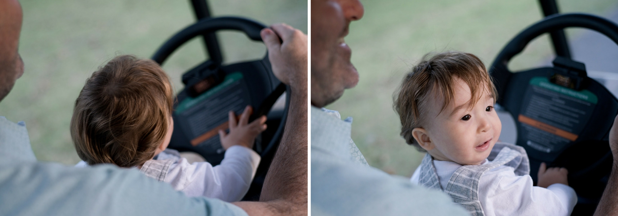 Young boy driving a golf cart sitting on his father's lap in Palmetto Bluff, South Carolina. Photographed by Savannah Family Photographer, Kristen M. Brown, Samba to the Sea Photography.
