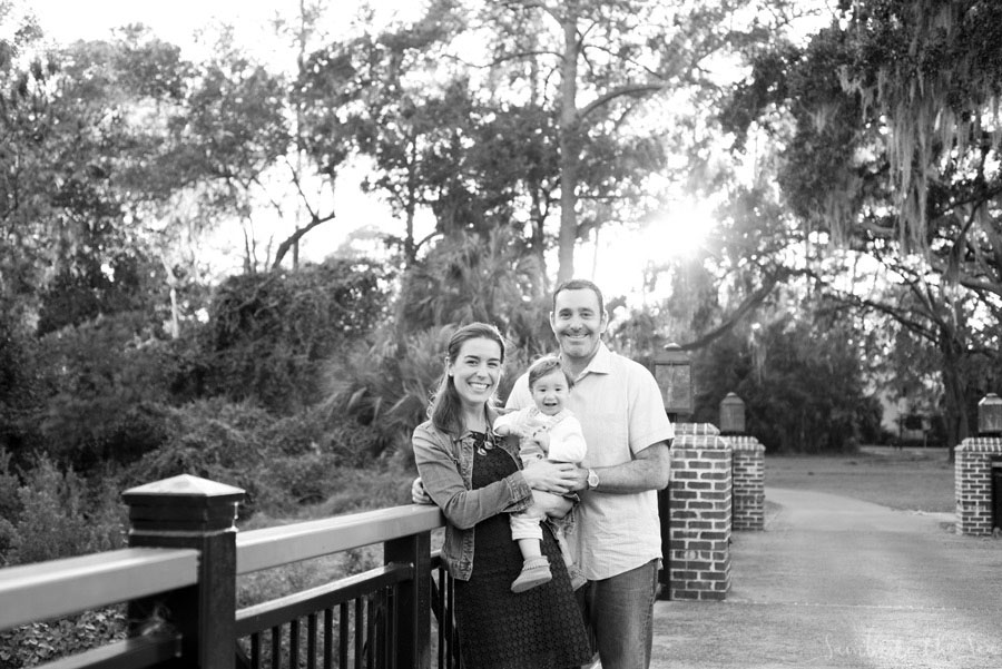 Black and white family portrait at the Montage Palmetto Bluff in Bluffton, South Carolina. Photographed by Savannah Family Photographer, Kristen M. Brown, Samba to the Sea Photography.