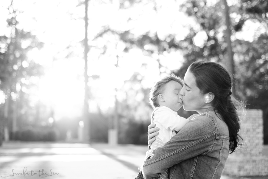 Mom kissing her young son at the Montage Palmetto Bluff in Bluffton, South Carolina. Photographed by Savannah Family Photographer, Kristen M. Brown, Samba to the Sea Photography.