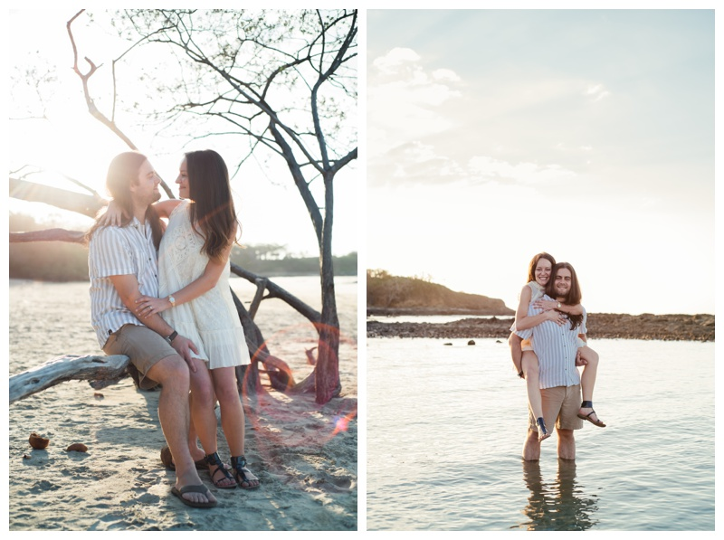 Beach engagement photos in Tamarindo, Costa Rica. Girlfriend is wearing an boho chic dress from Free People. Photographed by Kristen M. Brown, Samba to the Sea Photography.