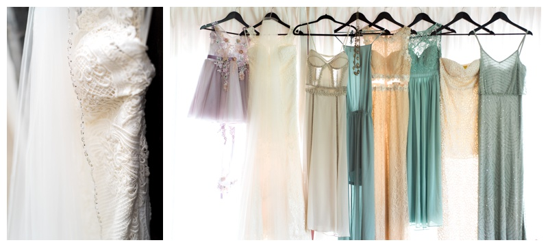 Wedding and bridesmaids' dresses hanging at Casa de las Tortugas in Playa Langosta, Costa Rica. Photographed by Kristen M. Brown, Samba to the Sea Photography.