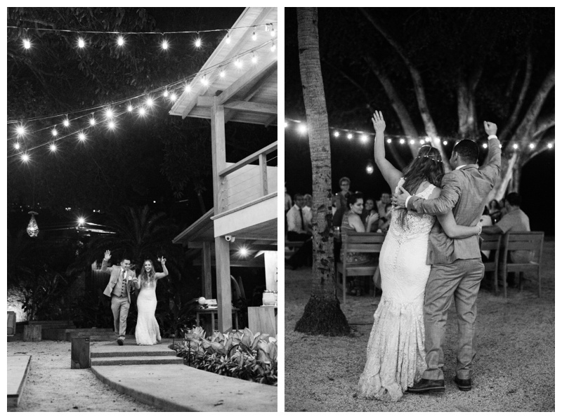 Bride and groom's entrance at Pangas Beach Club in Tamarindo, Costa Rica. Photographed by Kristen M. Brown, Samba to the Sea Photography.
