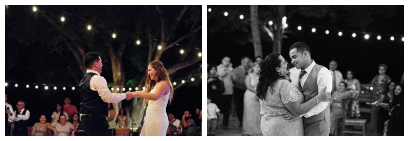 Father daughter dance at wedding at Pangas Beach Club in Tamarindo, Costa Rica. Photographed by Kristen M. Brown, Samba to the Sea Photography.