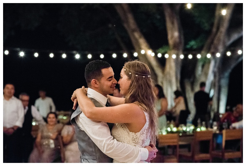 Bride and groom's first dance at their wedding at Pangas Beach Club in Tamarindo, Costa Rica. Photographed by Kristen M. Brown, Samba to the Sea Photography.