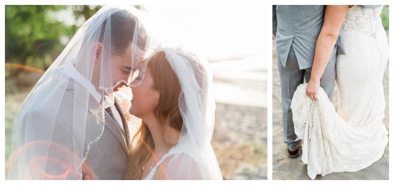 Groom whispering to his bride under her veil after their wedding in Costa Rica. Photographed by Kristen M. Brown, Samba to the Sea Photography.