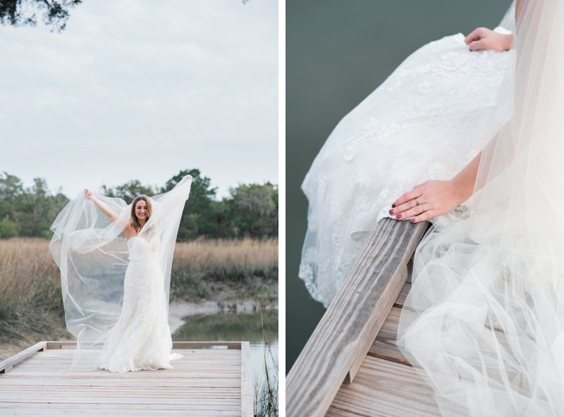 Marsh bridal portraits in Savannah, Georgia on Skidaway Island with Ivory and Beau Bridal Boutique. Model is wearing a Maggie Sottero Designs wedding dress . Photographed by Kristen M. Brown, Samba to the Sea Photography.